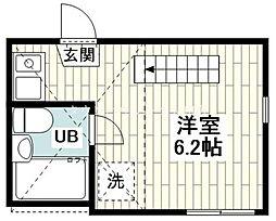 相鉄本線 上星川駅 徒歩4分の賃貸アパート 1階ワンルームの間取り