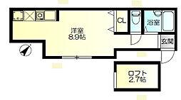 神奈川県茅ヶ崎市東海岸北4丁目の賃貸アパートの間取り