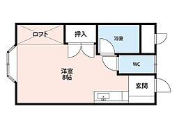 福岡県北九州市小倉南区蜷田若園2丁目の賃貸アパートの間取り