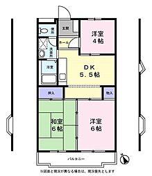 ボヌール西ヶ岡[4階]の間取り
