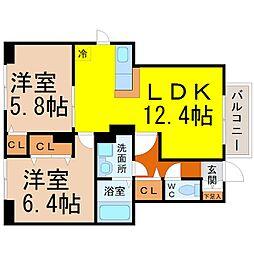 愛知県名古屋市千種区内山2丁目の賃貸アパートの間取り