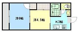 広島県福山市港町1丁目の賃貸アパートの間取り