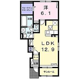 ユウ ドリームI 1階1LDKの間取り