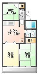 サンハイツII C[2階]の間取り