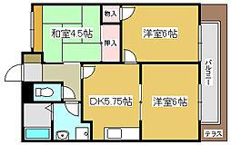 兵庫県加古川市山手3丁目の賃貸アパートの間取り