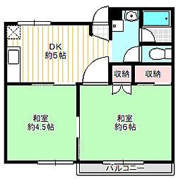 ベルシオン鳳[2階]の間取り