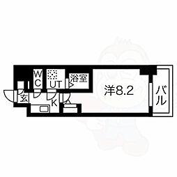 エスリード新栄プライム 7階1Kの間取り