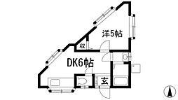 上ノ山ハイツ[1階]の間取り