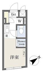 Growcel北新宿 1階ワンルームの間取り