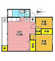 富士見町住宅19号棟[509号室]の間取り