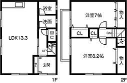 [テラスハウス] 愛知県一宮市神戸町 の賃貸【/】の間取り