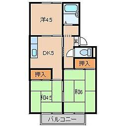 キタモリハイツ1号棟[2階]の間取り