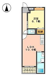 愛知県長久手市片平1丁目の賃貸マンションの間取り