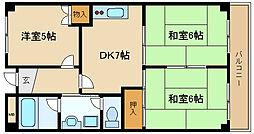兵庫県伊丹市昆陽南4丁目の賃貸マンションの間取り