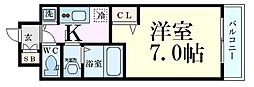 JR東西線 海老江駅 徒歩5分の賃貸マンション 4階1Kの間取り