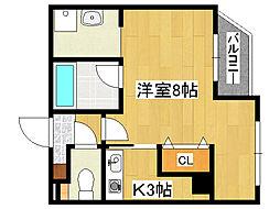 JR東海道・山陽本線 六甲道駅 徒歩2分の賃貸マンション 4階1Kの間取り