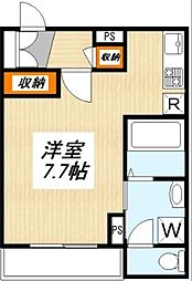 東急田園都市線 三軒茶屋駅 徒歩15分の賃貸マンション 2階1Kの間取り