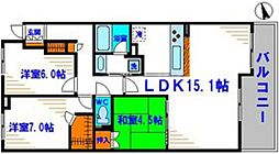 ディーグラフォート千里中央 14階3LDKの間取り