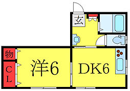 フジハイツ 2階1DKの間取り