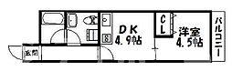 大阪府大阪市住吉区苅田6丁目の賃貸マンションの間取り