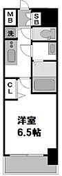 レオンコンフォート難波ノワール 15階1Kの間取り