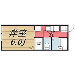 千葉県千葉市若葉区桜木北3丁目の賃貸アパートの間取り
