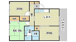 兵庫県姫路市飾磨区上野田6丁目の賃貸アパートの間取り