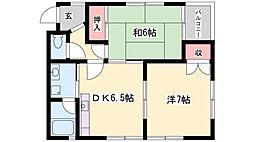 兵庫県加古川市別府町朝日町の賃貸アパートの間取り