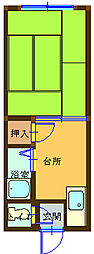 A-style台金屋1 1階1Kの間取り