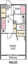 埼玉県東松山市六軒町の賃貸アパートの間取り