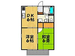 片岡ハイツB棟[201号室号室]の間取り