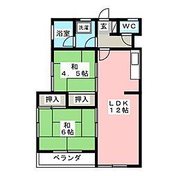 三浦ハイツ[2階]の間取り
