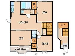 和歌山県和歌山市古屋の賃貸アパートの間取り