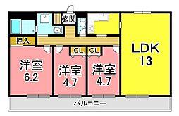 JR東海道・山陽本線 明石駅 バス12分 王塚台7丁目下車 徒歩2分の賃貸マンション 3階3LDKの間取り