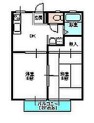 茨城県水戸市元吉田町の賃貸アパートの間取り