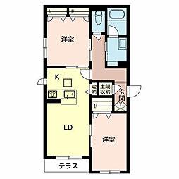 泉北高速鉄道 和泉中央駅 徒歩12分の賃貸アパート 1階2LDKの間取り