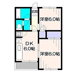 東京都小平市学園西町1の賃貸アパートの間取り