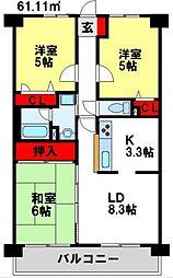 ライオンズマンション二日市第2[1階]の間取り