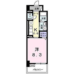 ラインスター三萩野 8階1Kの間取り