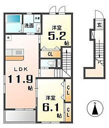 愛知県名古屋市西区新木町の賃貸アパートの間取り