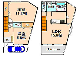[一戸建] 兵庫県伊丹市清水3丁目 の賃貸【/】の間取り