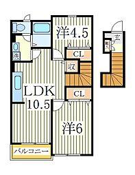 千葉県柏市西原2丁目の賃貸アパートの間取り