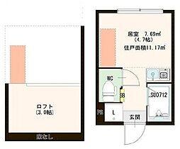 東京メトロ有楽町線 千川駅 徒歩6分の賃貸アパート 2階ワンルームの間取り