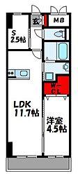 ロイズ空港東 2階1SLDKの間取り