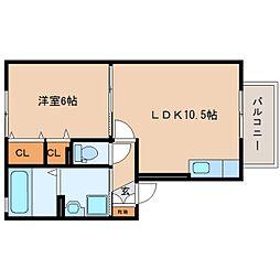 静岡県焼津市大覚寺の賃貸アパートの間取り