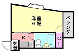 パークサイドフジII[5-D号室]の間取り