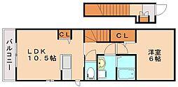 JR筑豊本線 飯塚駅 徒歩8分の賃貸アパート 2階1LDKの間取り