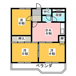 野中第3マンション[3階]の間取り