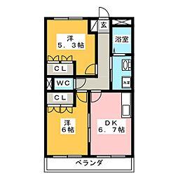サンライズ棚橋 Ⅱ[1階]の間取り
