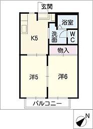 ディアコート竹陽B[2階]の間取り